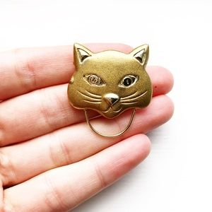 Vintage gold & silver Egyptian cat brooch pin
